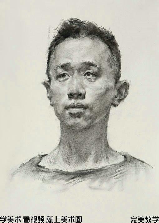 素描头像步骤图之师锋炭笔画男青年