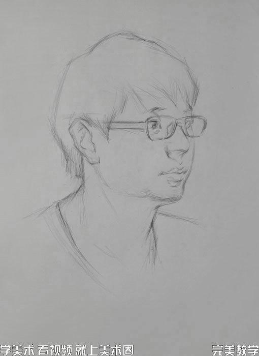 素描头像步骤图之解婧精讲四分三侧戴眼镜的男青年