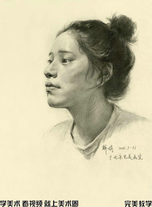 素描头像步骤图之解婧精讲仰视的女青年