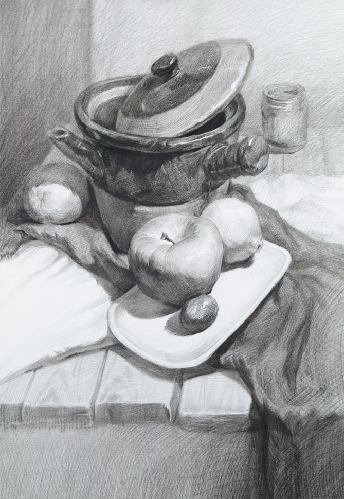 作画步骤:以重色罐子,水果和红牛为主的静物组合