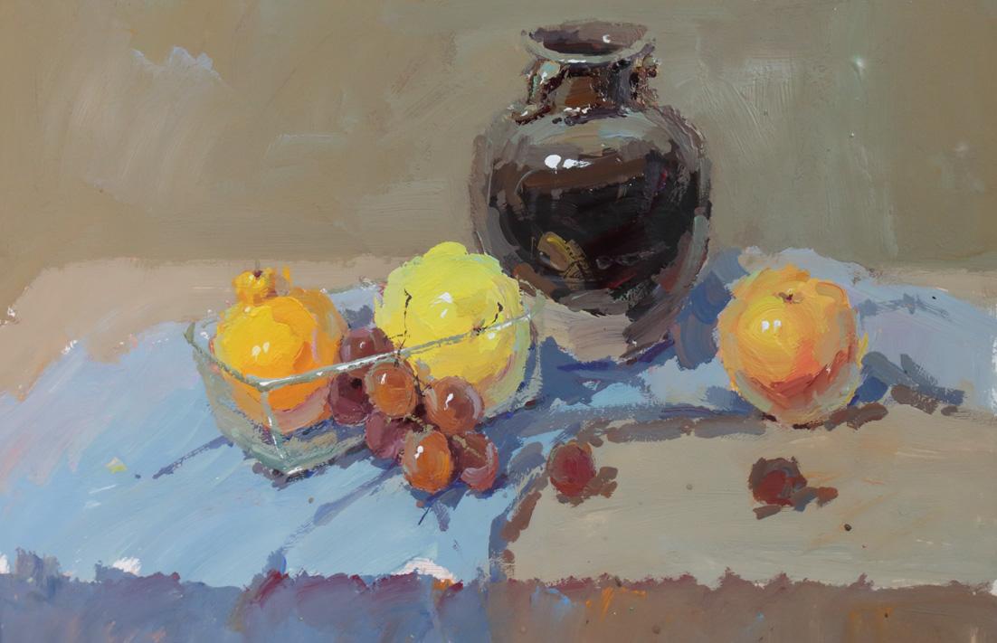 作画步骤:以深色罐子和水果为主的静物组合