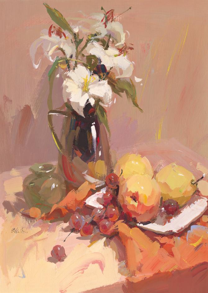 作画步骤:以花卉,不锈钢花瓶和水果为主的静物组合