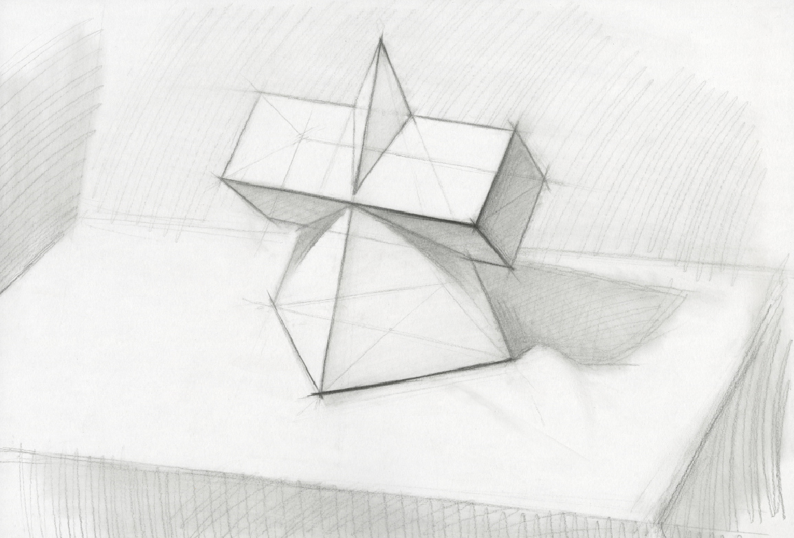 几何形体之长方体加三菱锥组合穿插体