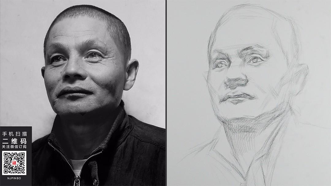 碳笔在素描头像中的表现