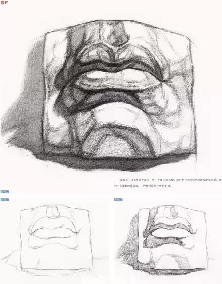 石膏五官作画要点之眼睛,鼻子,耳朵,嘴巴