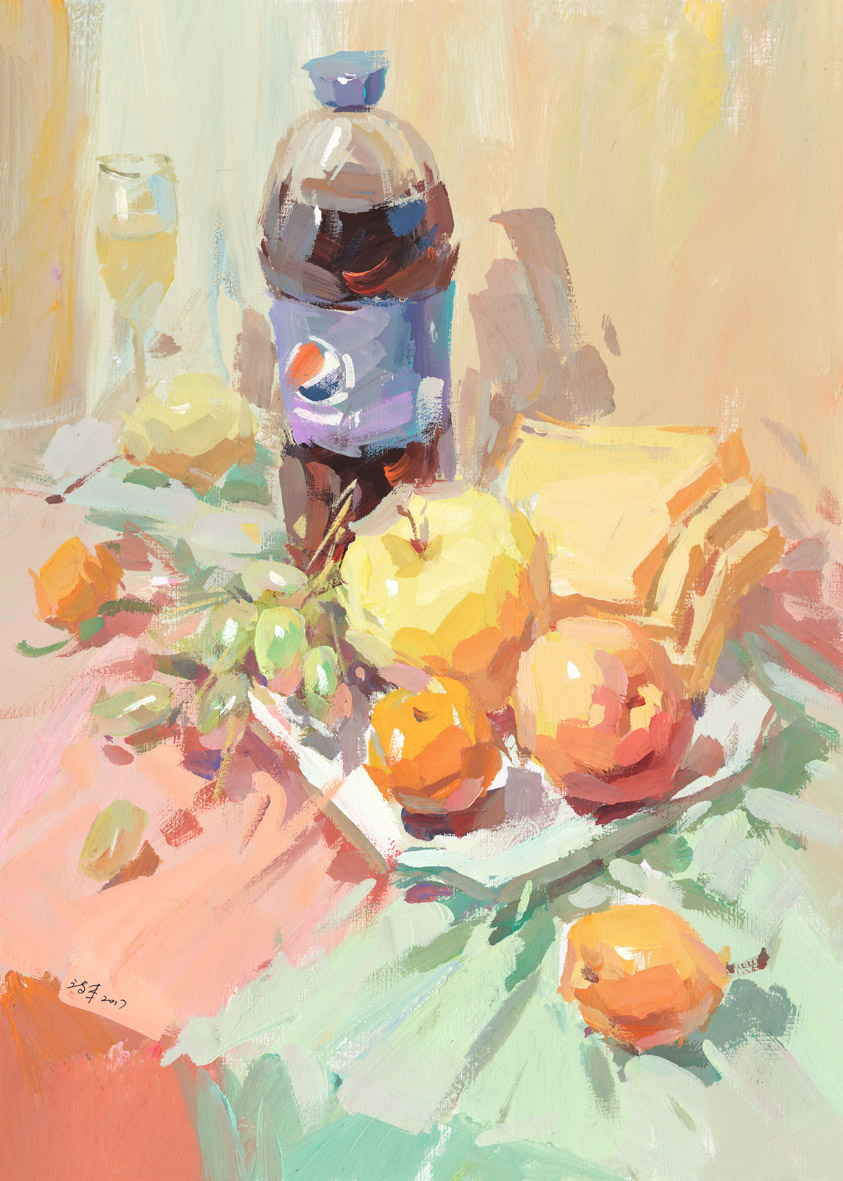 画照片步骤——以百事可乐,水果面包片为主的静物组合